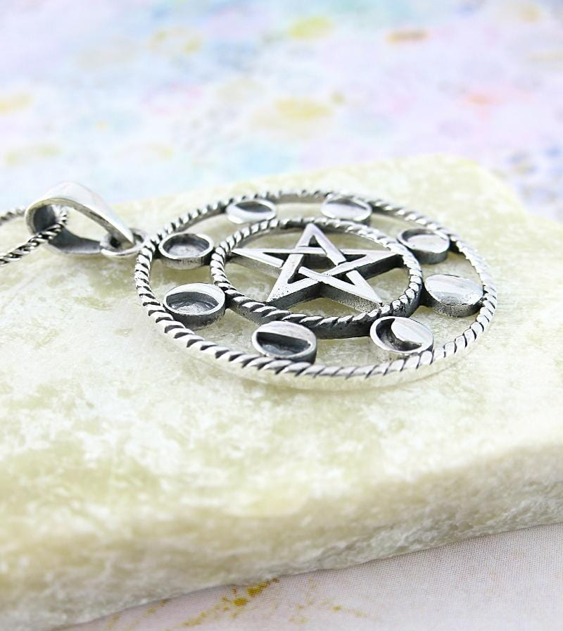 Pentacle With Phases of the Moon Necklace - woot & hammy