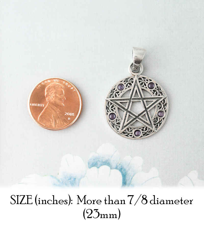 Pentacle Pendant With Lacy Wreath And Iolite Stones | woot & hammy