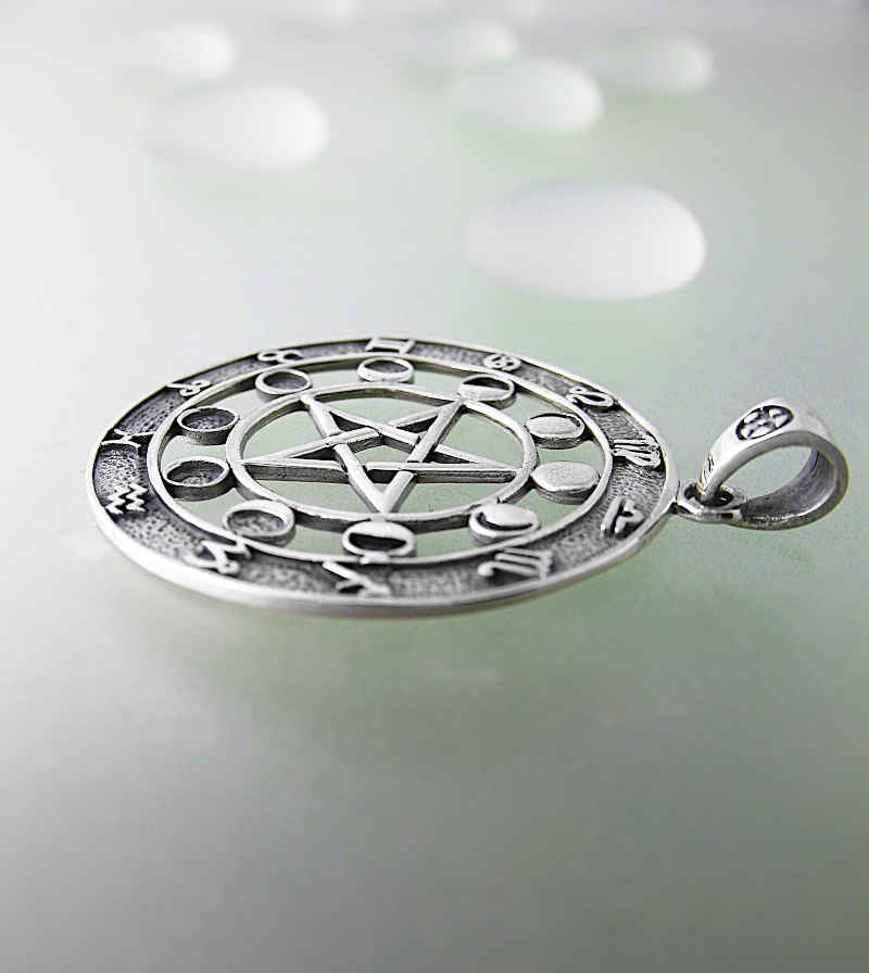 Pentacle Pendant With Phases of the Moon and Zodiac Signs | woot & hammy