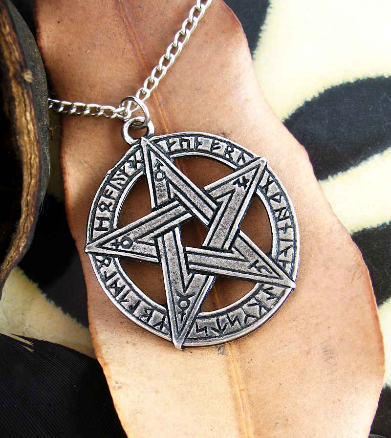 Pentacle Pendant With Runes and Alchemy Symbols in Pewter | woot & hammy