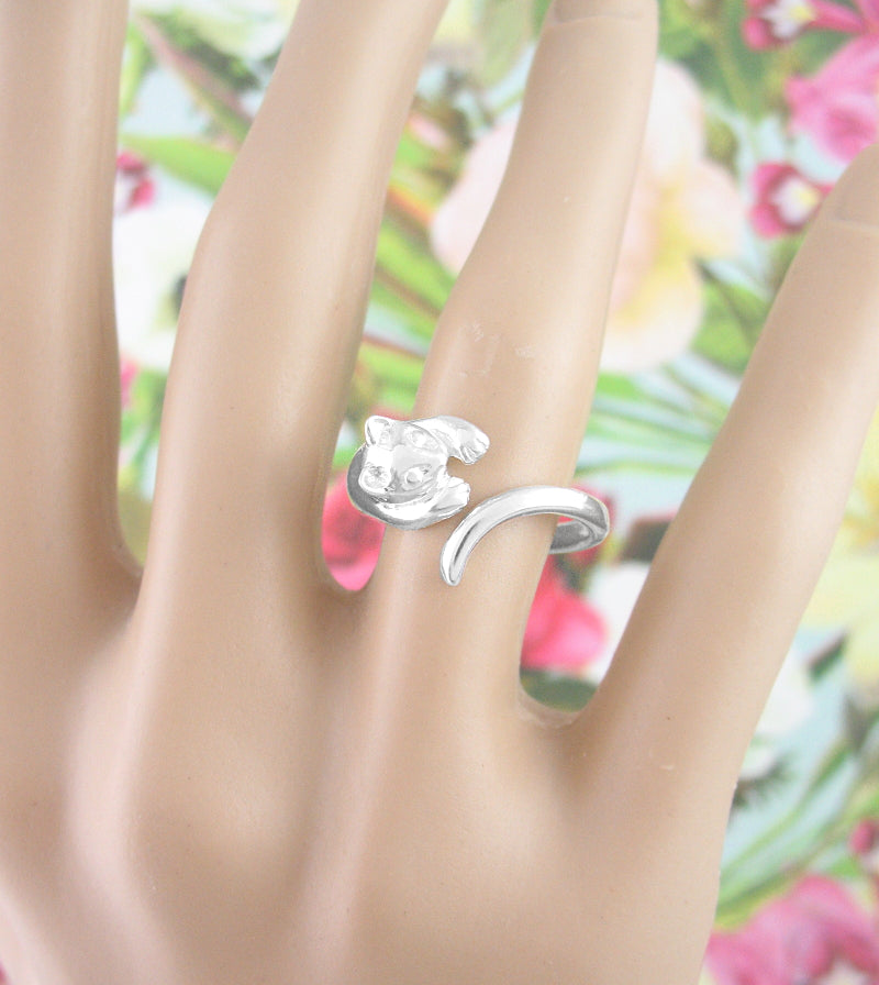 Playful Cat Ring - Adjustable | woot & hammy thoughtful jewelry