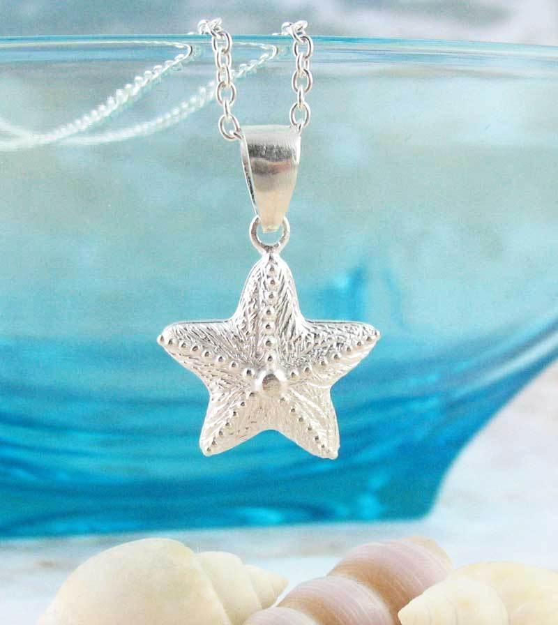 Plump Short-Spined Starfish Necklace Sterling Silver