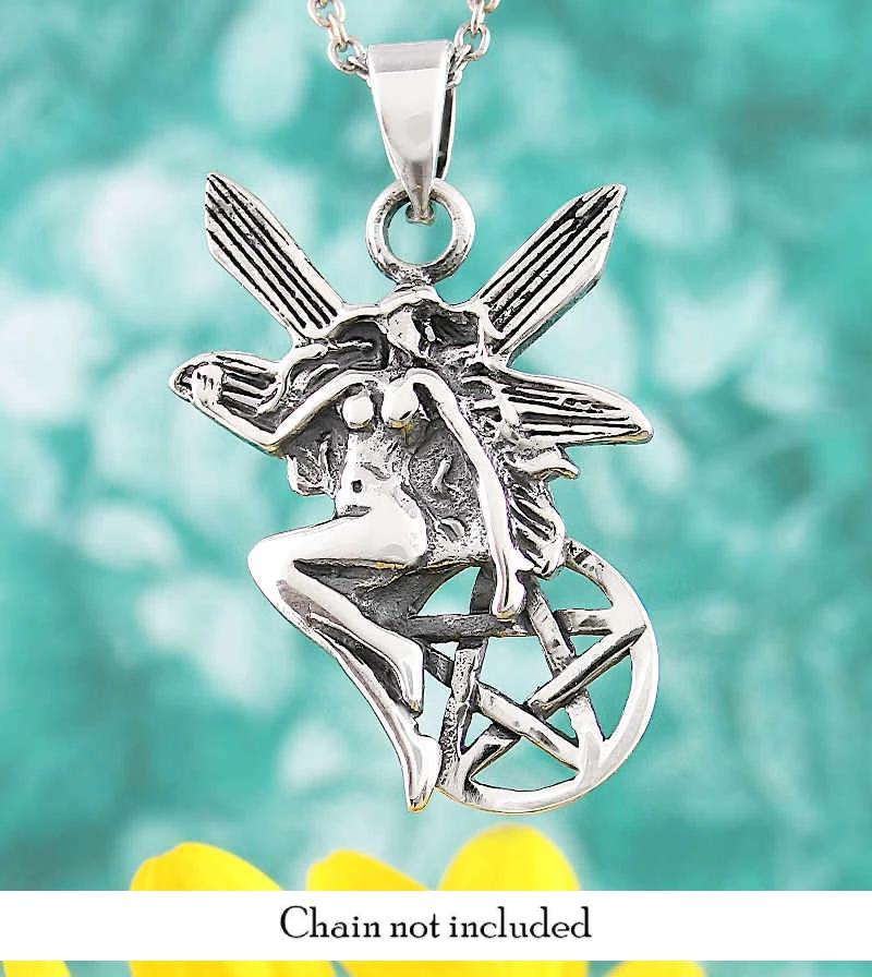 Fairy Pentacle Pentagram Necklace Faerie Nymph Dryad Tree Spirit Wiccan Pagan Silver
