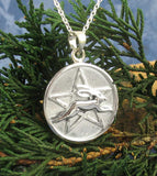 Leaping Hare Rabbit Pentacle Necklace Sterling Silver Medallion