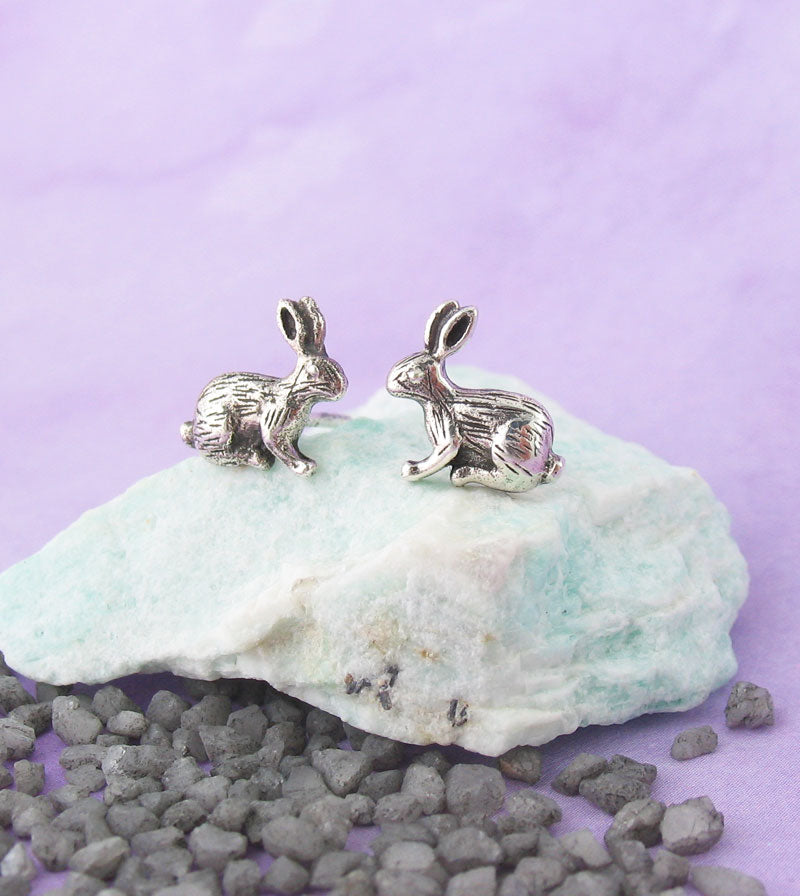 Tiny Hare Rabbit Stud Earrings Sterling Silver