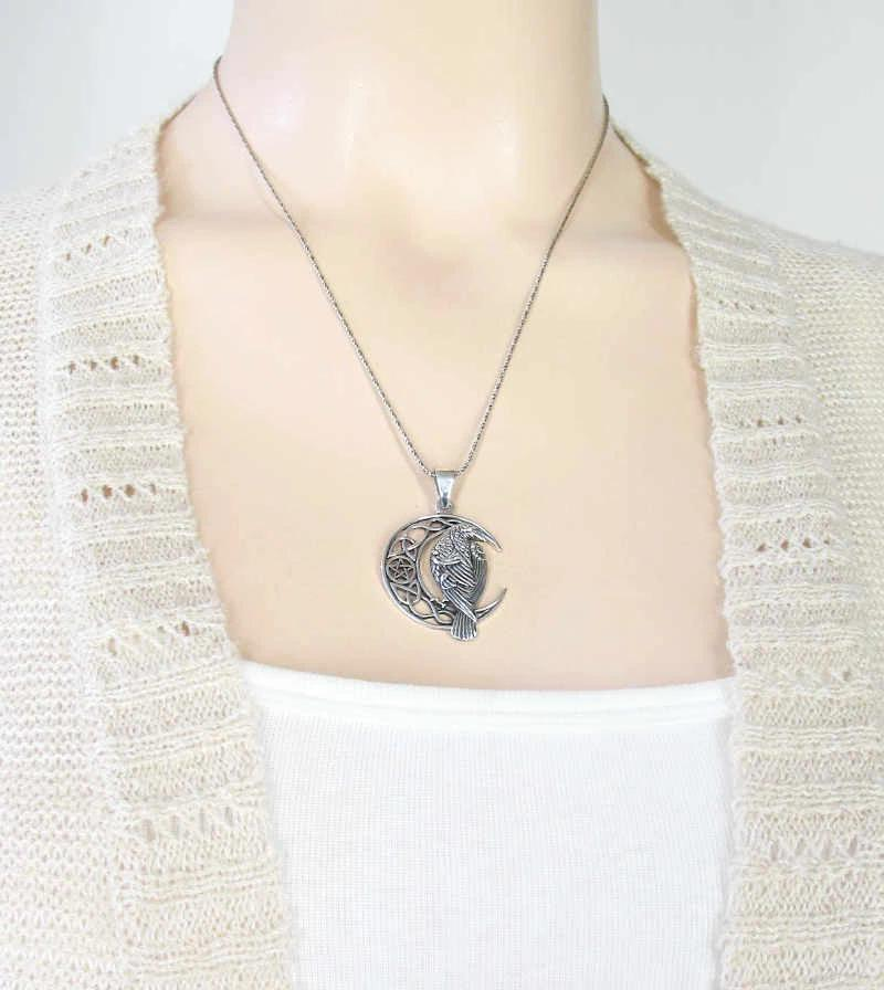 Raven With Celtic Crescent Moon and Pentacle Necklace | woot & hammy thoughtful jewelry