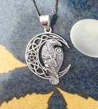 Raven With Celtic Crescent Moon and Pentacle Pendant