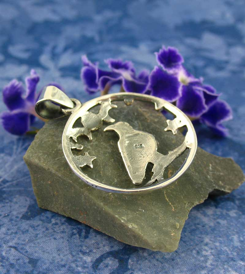 Raven Gazing at Triple Moon Goddess Pendant Sterling Silver