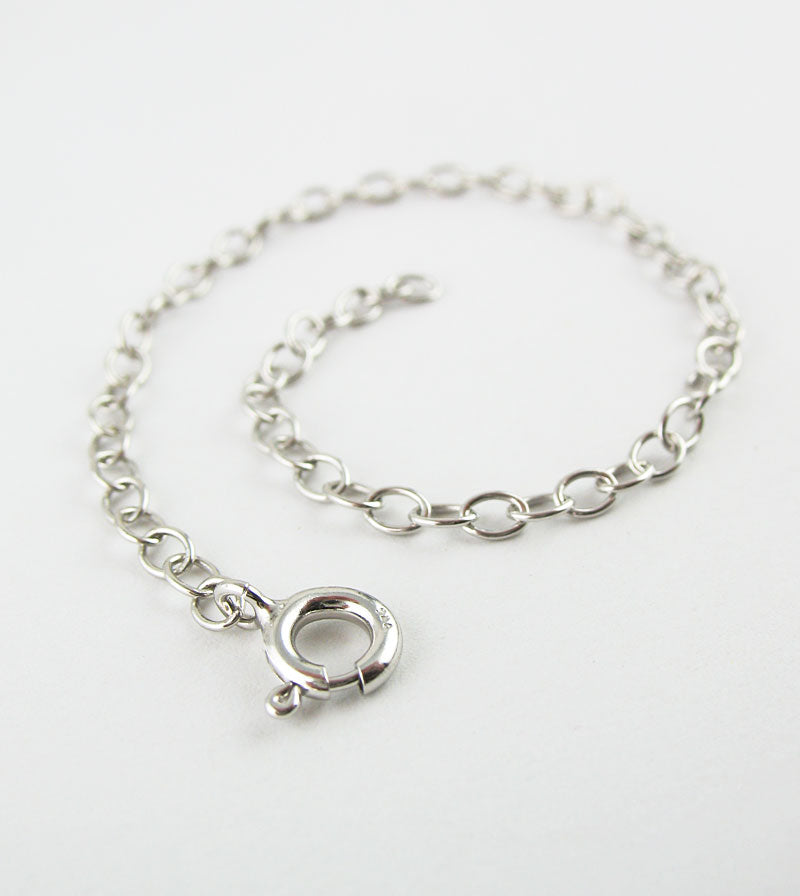 Extender Chains in Rhodium-Plated Sterling Silver