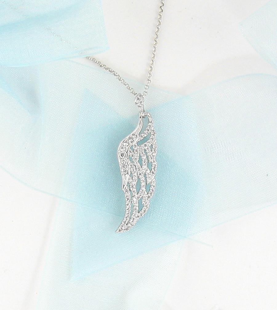 Shimmering Angel Wing Necklace with Crystals - woot & hammy