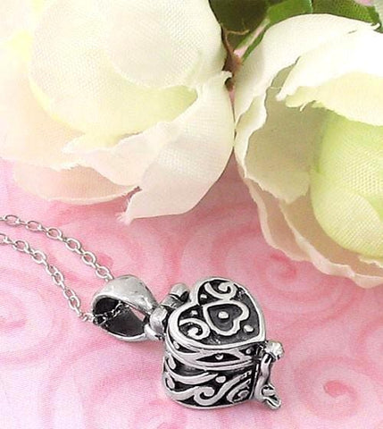 Heart Prayer Box Necklace in Sterling Silver-Hearts & Love > Prayer Box Necklaces-woot & hammy