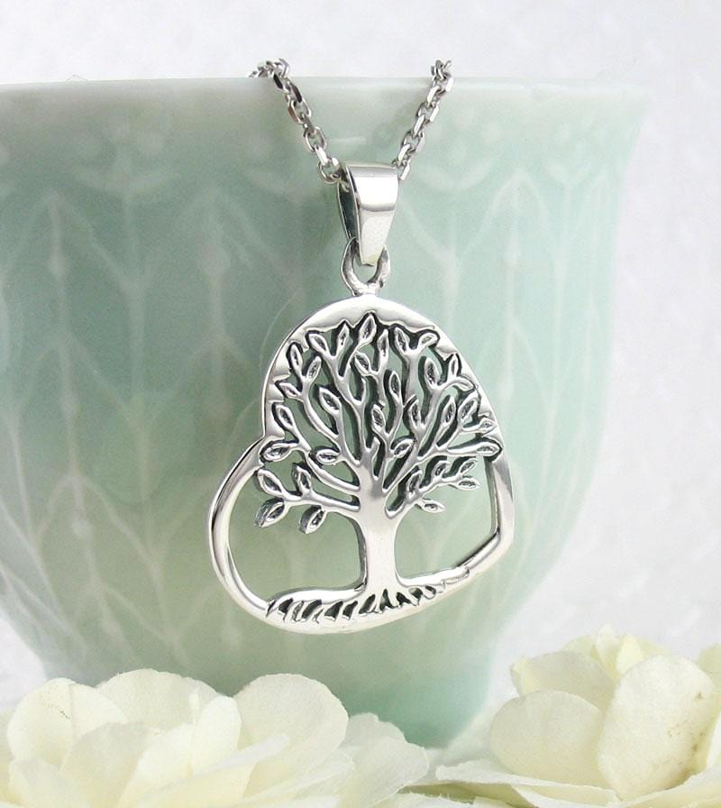 Sideways Heart-Shaped Tree of Life Necklace