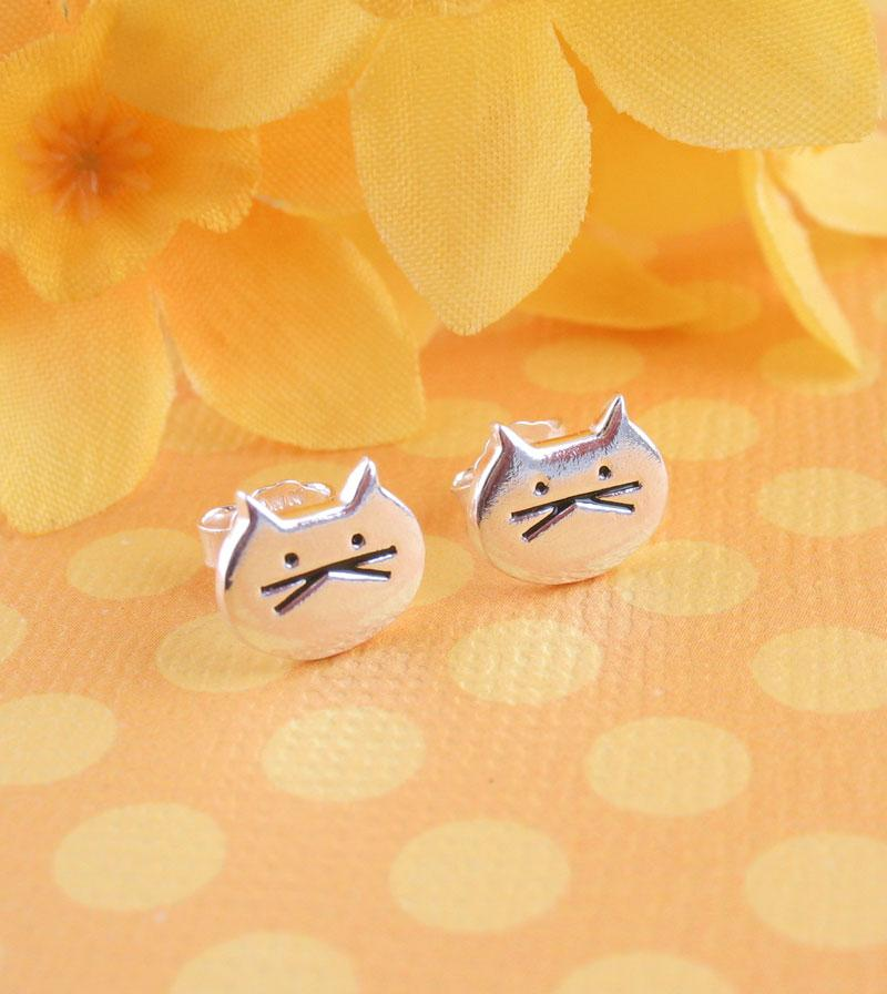 Silly Cat Face Earrings Kitty Lover Mom Stud Sterling Silver