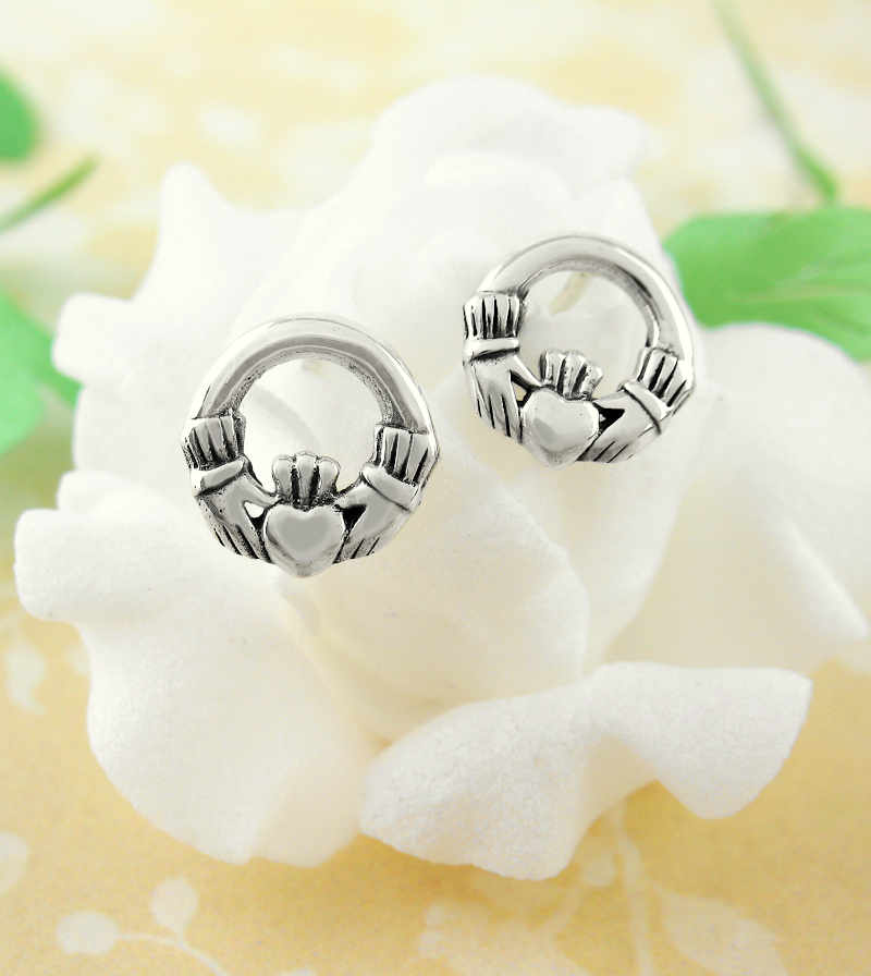 Claddagh Post Earrings Irish Hand Heart Crown Stud Earrings Sterling Silver