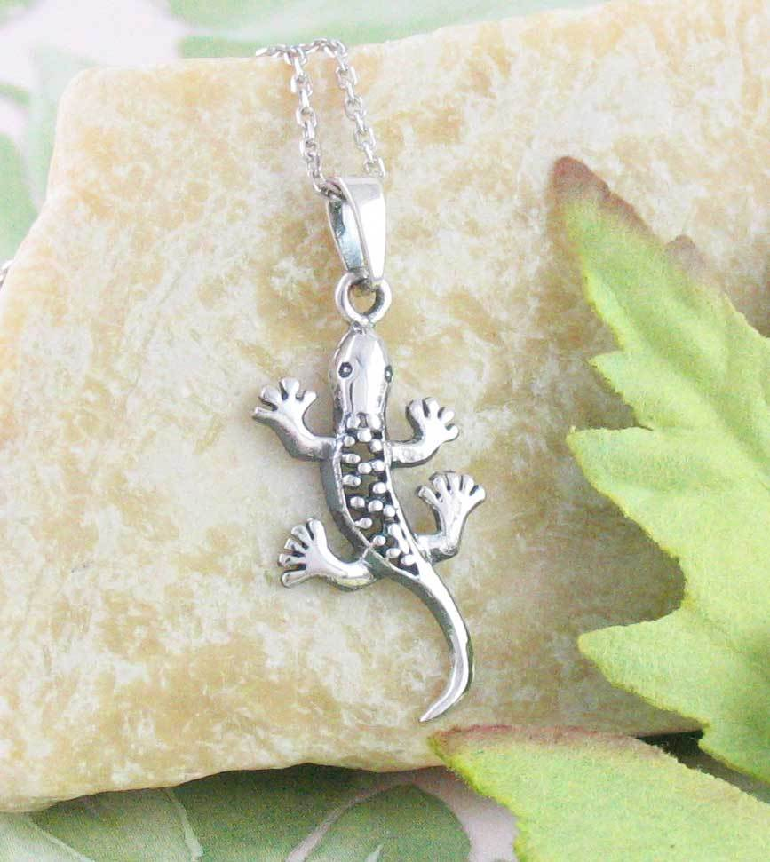 Little Speckled Gecko Lizard Necklace Sterling Silver