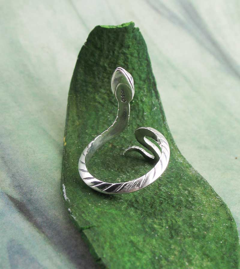 Sinuous Snake Serpent Ring, Adjustable Sterling Silver