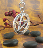 So Mote It Be Theban Pentacle Pendant Necklace Witches Alphabet Sterling Silver