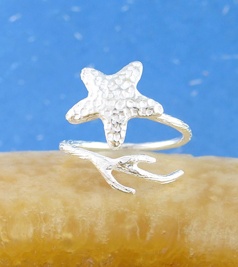 Sparkling Starfish and Coral Branch Adjustable Ring | woot & hammy thoughtful jewelry