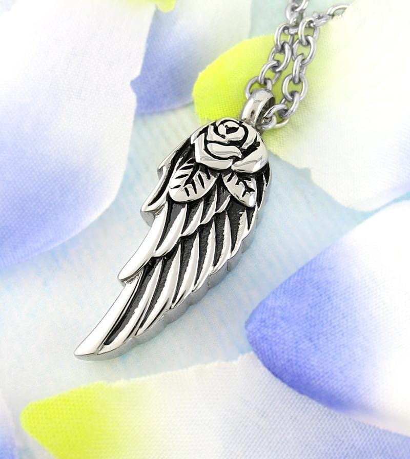 Angel Wing Memorial Urn Necklace with Rose - woot & hammy