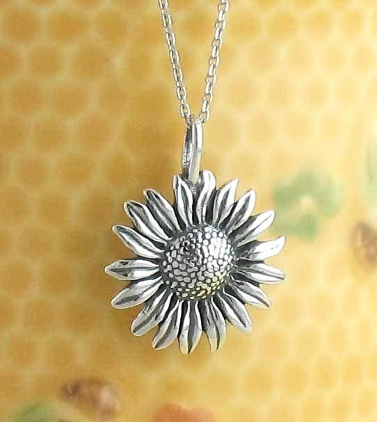 Lively sunflower necklace in sterling silver free shipping in the lively sunflower necklace woot hammy aloadofball Image collections