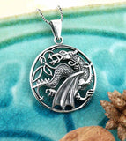 Round Cut-Out Winged Dragon Necklace | woot & hammy thoughtful jewelry