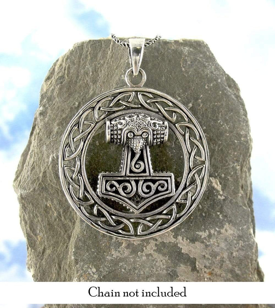 Majestic Mjolnir Thor's Hammer Necklace with Celtic Border - woot & hammy