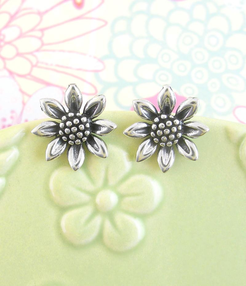 Miniature Antiqued Quaint Sunflower Earrings | woot & hammy