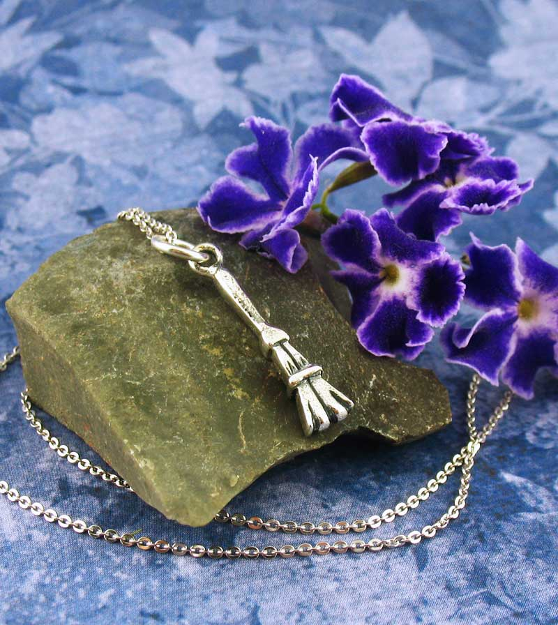 Tiny Witch's Broom Besom Pendant Sterling Silver