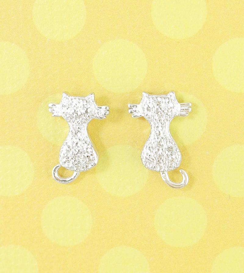 Bookend Sitting Kitty Earrings With CZ Crystals | woot & hammy thoughtful jewelry