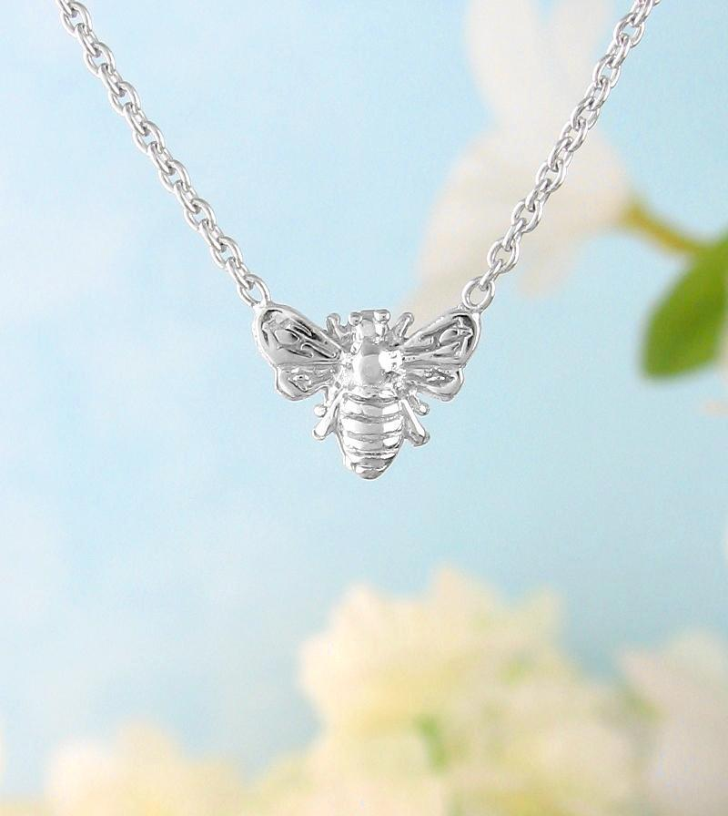 Tiny Honey Bee or Bumble Bee Necklace | woot & hammy thoughtful jewelry