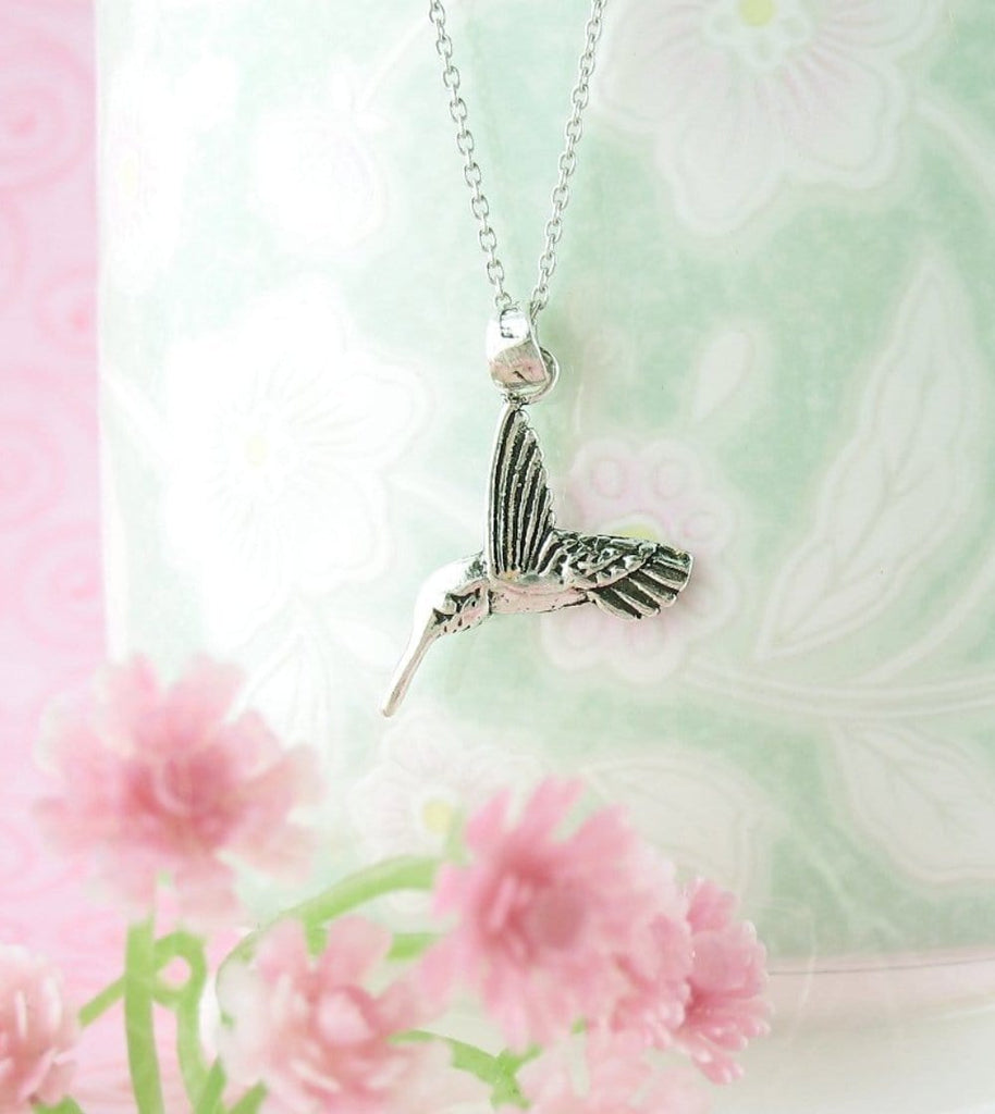 Hummingbird Drinking Nectar Necklace - woot & hammy