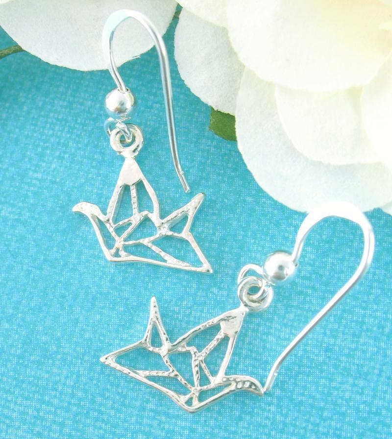 Small Origami Crane Outline Earrings | woot & hammy