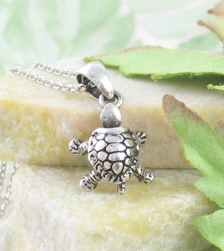 Tiny Turtle Tortoise Necklace with Movable Legs & Head Sterling Silver