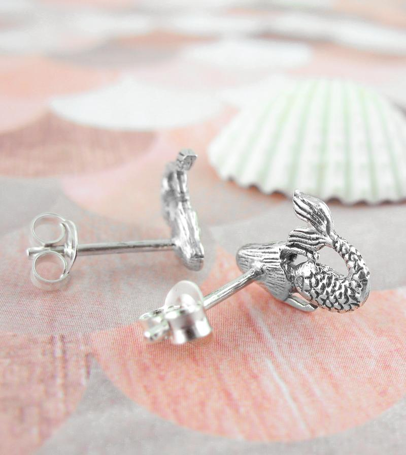 Tiny Twin Mermaid Stud Earrings Sterling Silver Antiqued Oxidized