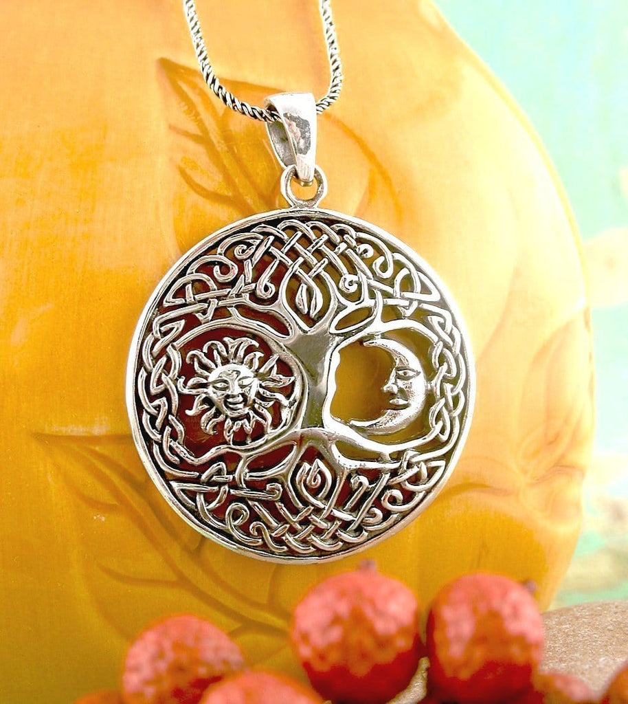 Celtic Tree of Life with Sun and Moon Necklace - woot & hammy