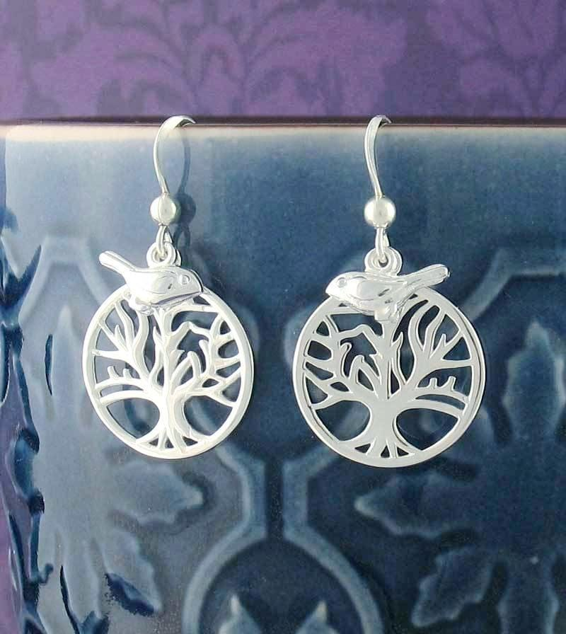 Tree of Life Dangle Earrings with Bird Charms - woot & hammy