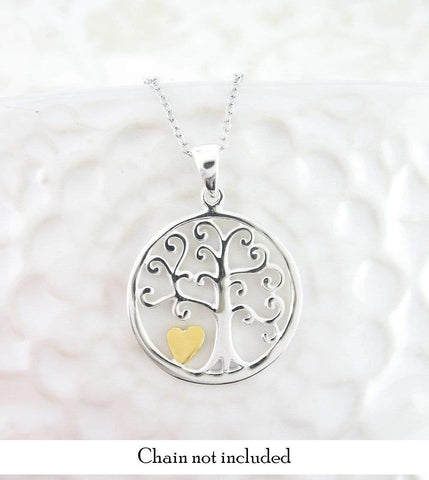 Little Gold Heart Tree of Life Necklace woot hammy