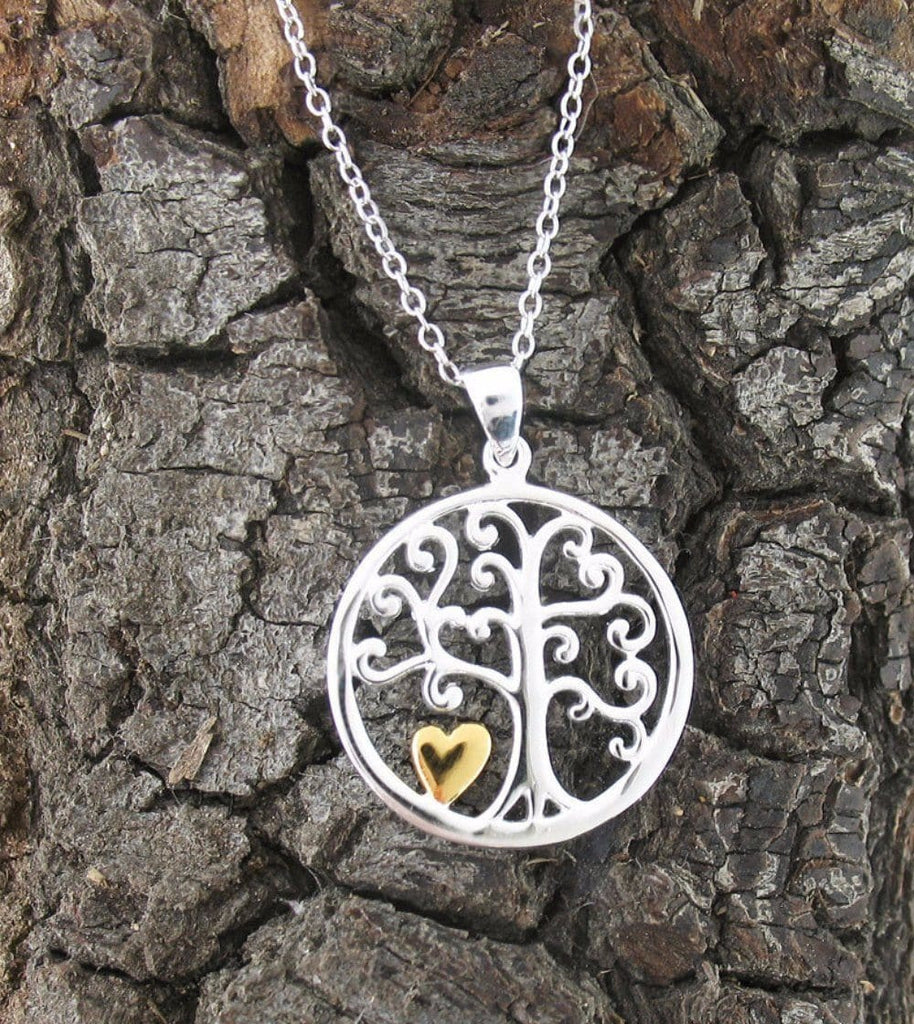 Little Gold Heart Tree Of Life Necklace In Sterling Silver Free