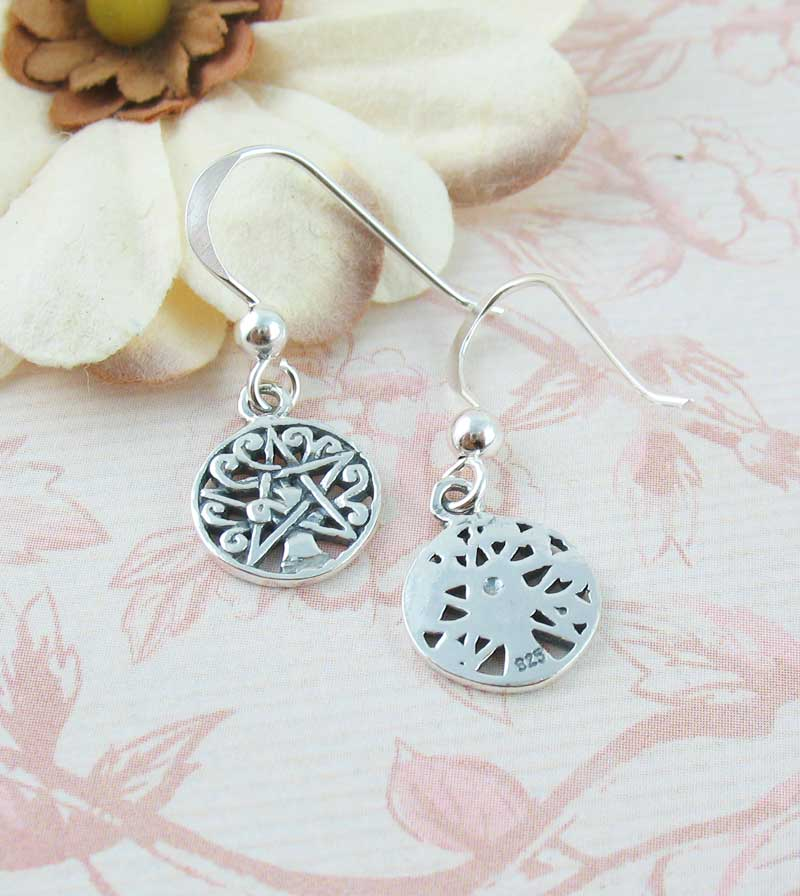 Little Tree of Life Pentacle Dangle Drop Earrings Sterling Silver Wiccan Pagan Jewelry