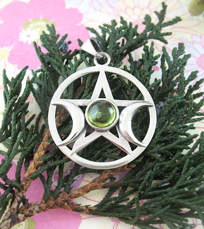 Triple Moon Pentacle Pendant With Green Cabochon | Woot & Hammy