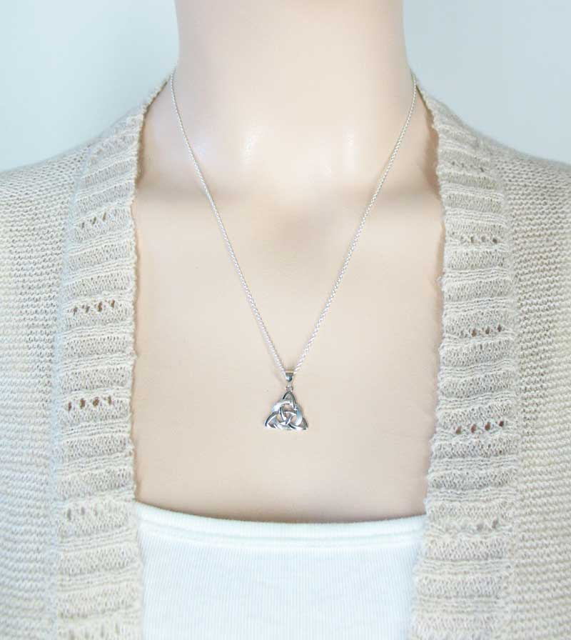 Two-Texture Celtic Triquetra with Circle Necklace Sterling Silver