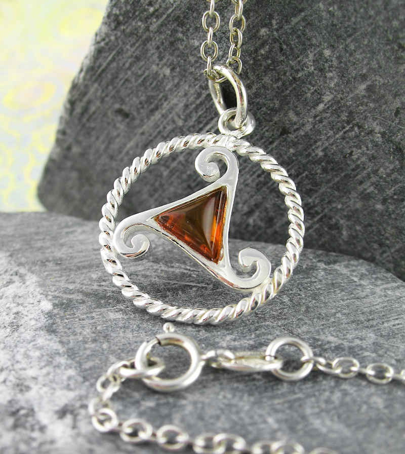 Triskele Symbol Pendant With Baltic Amber Triangle | Woot & Hammy