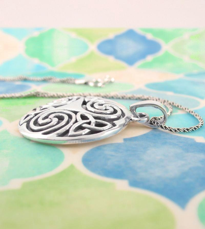 Celtic Triskelion Necklace With Trinity Knots | woot & hammy thoughtful jewelry