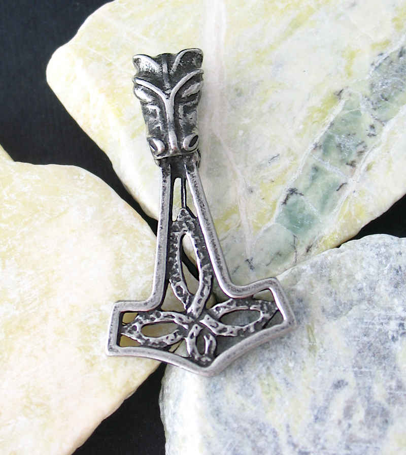 Mjolnir Thor's Hammer Pendant With Fenrir Wolf and Celtic Knot, Lead-Free Pewter