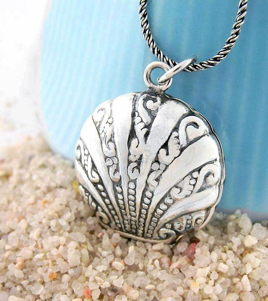 Ornate Two-Sided Scallop Shell Locket Necklace - woot & hammy