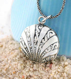 Ornate Two-Sided Scallop Shell Locket Pendant