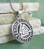 Three-Dimensional Valknut Necklace with Runes & Triquetra Sterling Silver Amulet
