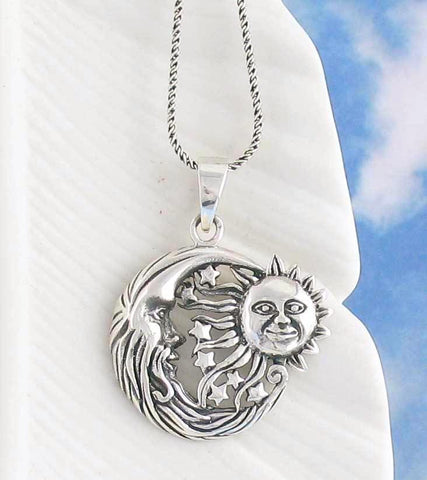 Flying Sun and Moon Necklace - woot & hammy