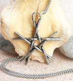 Pentagram of Wooden Wands Pendant Wiccan Pagan, Lead-Free Pewter