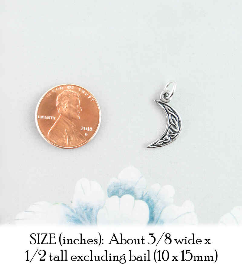 Waxing or Waning Celtic Crescent Moon Charm | Woot & Hammy